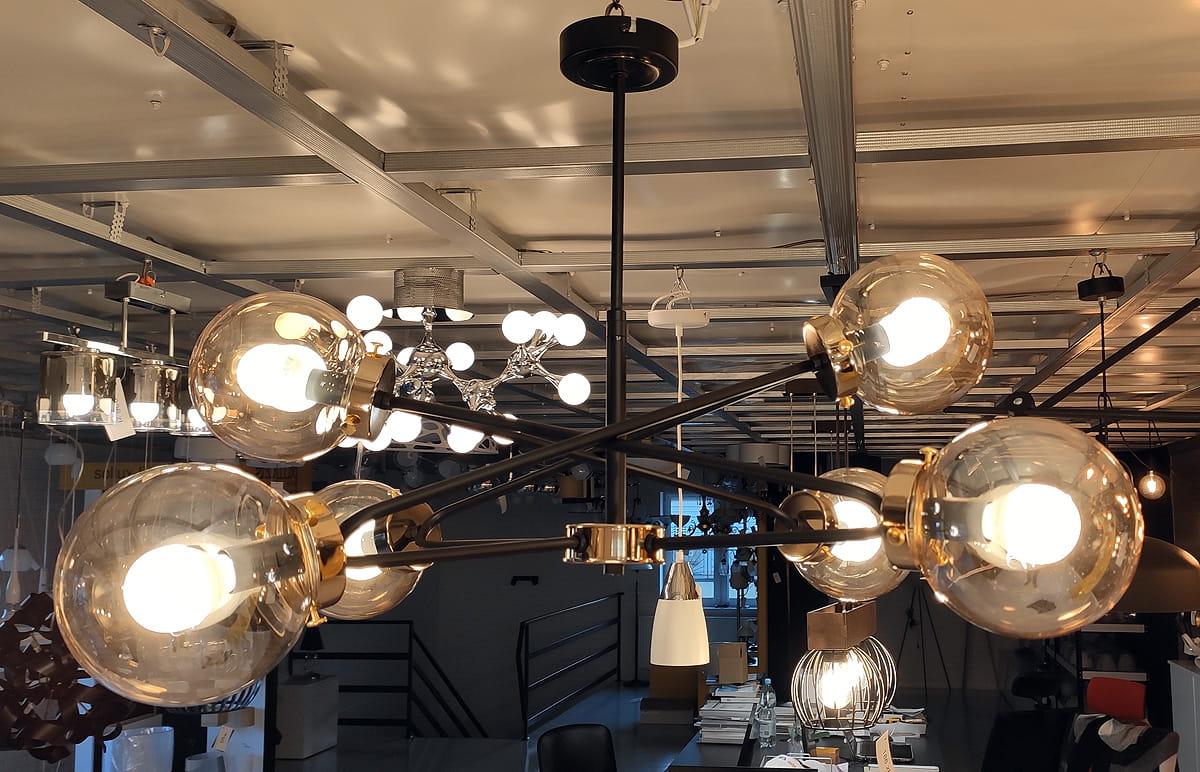 Sagito lampa wisząca 6 punktowa mosiądz 25626